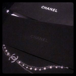 Chanel pearl long chain necklace